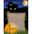 Pumpkins with parchment near the house vector