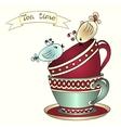Card with tea cups and art birds vector