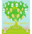 Happy easter bunnies carrying egg vector