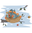 Birds with her four babies in the nest cartoon vector