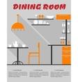 Dining room interior in flat format vector