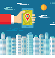 Smartphone with map and location in human hand vector