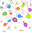 Confetti with balloons background vector