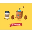 Funny cartoon funny coffee beans ans vector