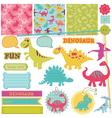 Scrapbook design elements - baby dinosaur set vector