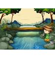 A boy fishing at the river vector