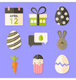 Easter icons set with shadows over violet vector