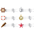 Marine tools white ribbons vector