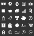 Money icons on black background vector