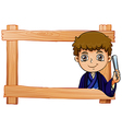 A wooden frame with a young boy vector