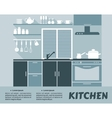Modular kitchen interior in flat design vector
