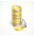 Stacks of golden and silver coins vector