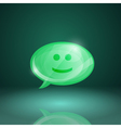Glossy speech bubble icon with smile vector