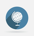 Globe circle blue icon with shadow vector
