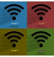 Color set wi-fi flat modern web button with long vector