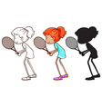 A sketch of a young girl playing badminton vector