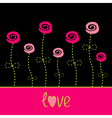 Roses with dash line stalks love card black pink vector