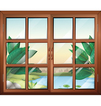 A closed window with a view of the pond vector