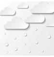 Paper white clouds on white paper sky vector