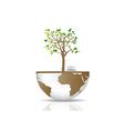 Tree on a globe vector