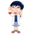 Little boy holding test tube vector