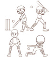 A simple sketch of the men playing cricket vector