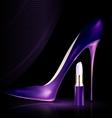 Shoe and lipstick in purple vector