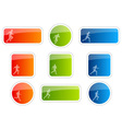 Color stickers with runner symbol vector