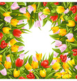 Flower background with tulips vector