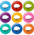 Round buttons with empty cloud templates vector