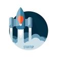 Space rocket flying in sky startup vector