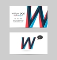 Business card template - letter w vector