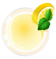 A topview of a glass with a lemon juice vector