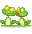 Frog cartoon kissing vector