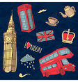 Colorful set of hand-drawn london symbols vector