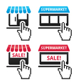 Shop supermarket sale icons with cursor hand ico vector