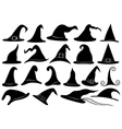 Set of different witch hats vector