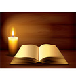 Candle book dark background vector