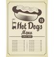 Hot dog menu vector
