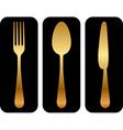 Gold cutlery icon vector