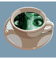 Eye reflected in a cup with a potion vector