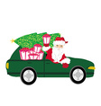 Santa claus driving car with christmas gift vector