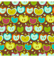 Seamless pattern with vintage apples vector
