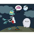 Blue cartoon zombie walking with hands in night vector