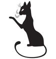 Silhouette of black cat in profile vector