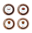 Four kind of coffee drink in retro round label vector