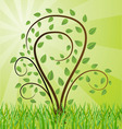 Green background with tree drawing vector