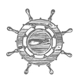 Ship wheel marine wooden vintage isolated white vector