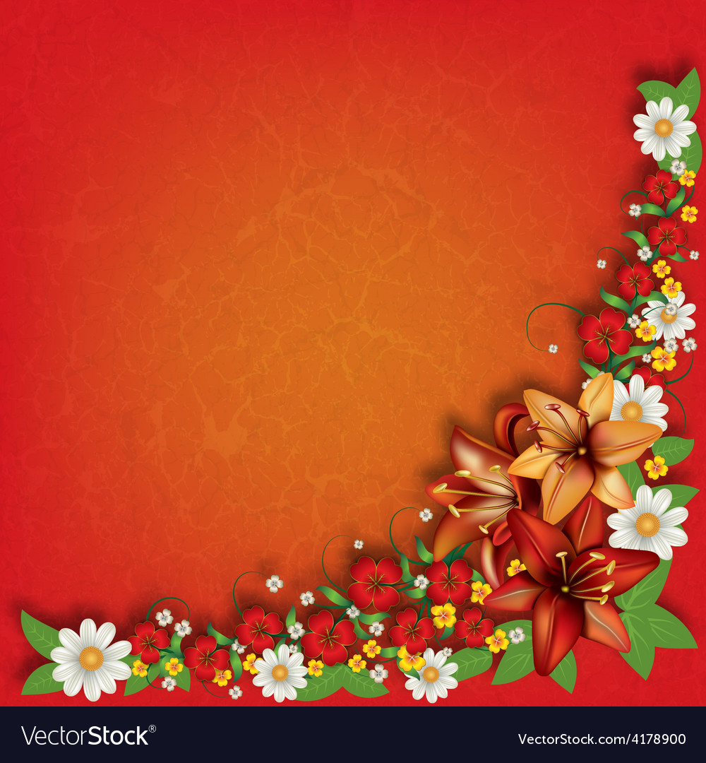 Abstract red grunge floral background with spring vector | Price: 1 Credit (USD $1)