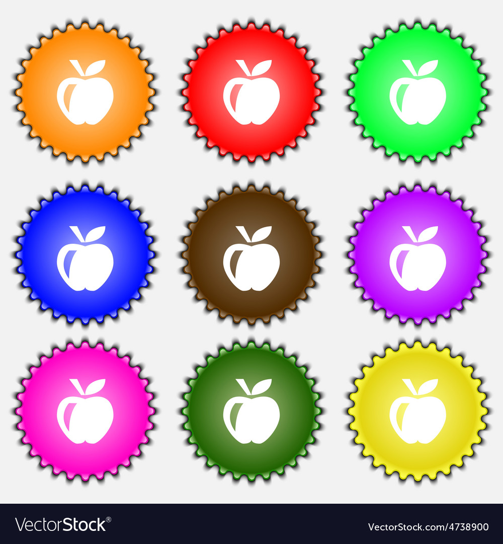 Apple icon sign a set of nine different colored vector | Price: 1 Credit (USD $1)